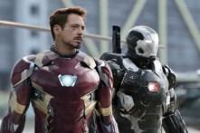 Don Cheadle et Robert Downey Jr. dans Captain America: Civil War (2016)