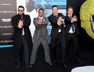 Jason David Frank, Walter Jones, Austin St. John, et David Yost lors de la 1ère de Power Rangers (2017)
