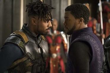 Chadwick Boseman et Michael B. Jordan dans Black Panther (2018)