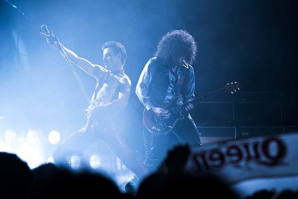 Rami Malek et Gwilym Lee dans Bohemian Rhapsody (2018)
